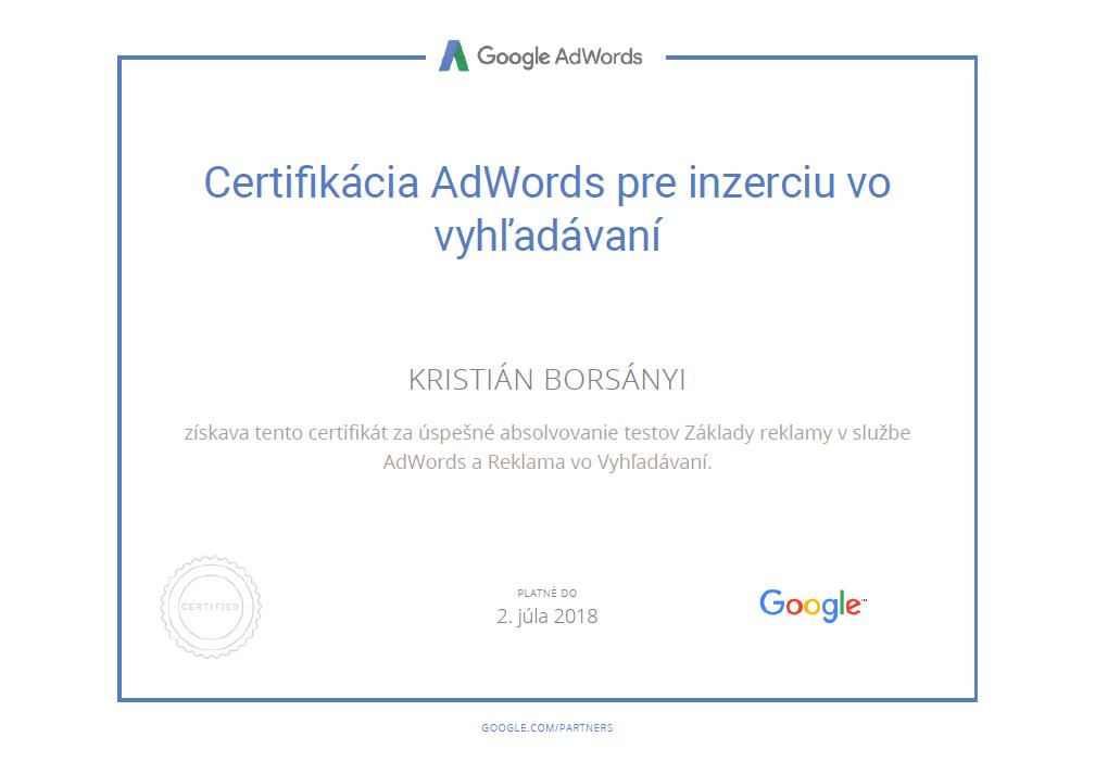 Google AdWords certifikát